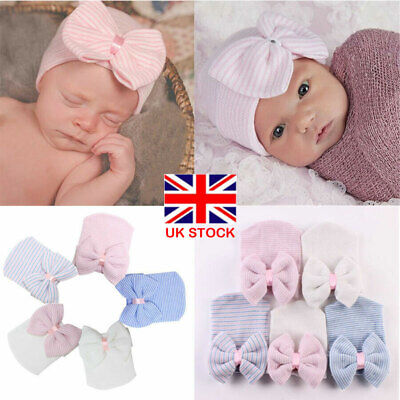 UK Newborn Girls Hats Infant Striped Soft Hat Bow Cap Hospital Baby Show Beanie