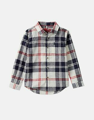 Joules Boys Sark Checked Shirt  - CREAM NAVY CHECK
