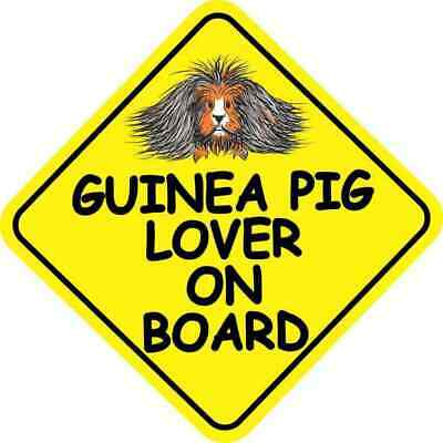 6in x 6in Long Haired Guinea Pig Lover on Board Sticker