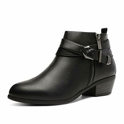 TOETOS Womens Winter Riding Ankle Boots Low Heels Zip Up Casual Boots Shoes