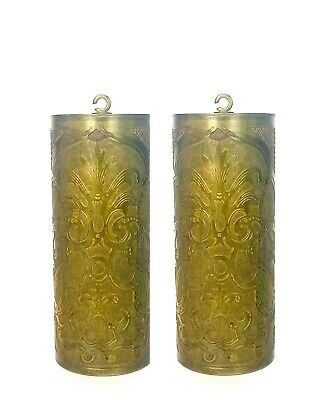 Set of Old 2 Hand Engraved Floral Brass Weight For Vienna Regulator Clock