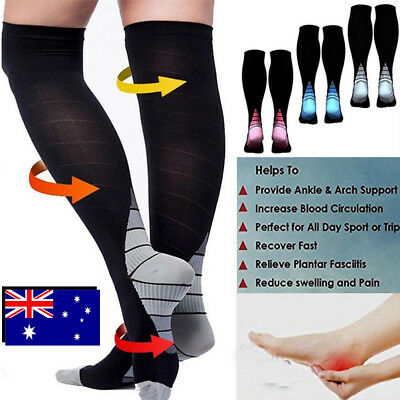 Compression Socks Copper Medical Stockings Travel Running Anti Fatigue Unisex FQ