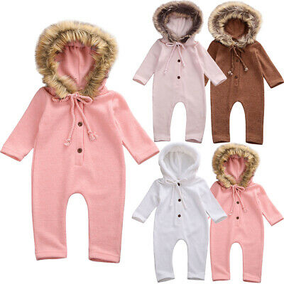 Newborn Infant Baby Girl Boy Winter Clothes Fur Hooded Romper Jumpsuit Outfit UK