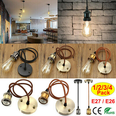 1-4Pcs Vintage Hanging E27/E26 Pendant Light Kit Ceiling Retro Style Lamp Holder
