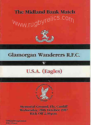GLAMORGAN WANDERERS v UNITED STATES RUGBY PROGRAMME 28th October 1987 VERY GOOD