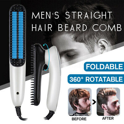 🔥Men Quick Beard Straightener Multifunctional Hair Comb Curling Curler Show Cap