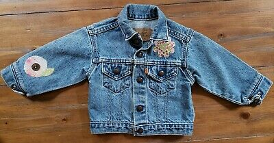 VTG 80s Little Levis Denim Jean Trucker Jacket Orange Tab Girls 3T Floral Design