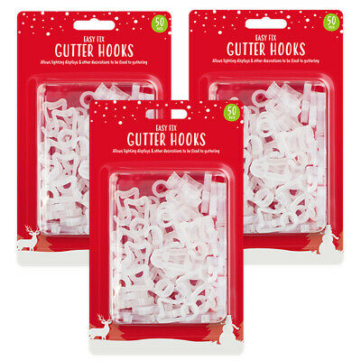 Outdoor Gutter Hooks Clips Christmas Icicle Fairy Lights LED Tile Roof Clear