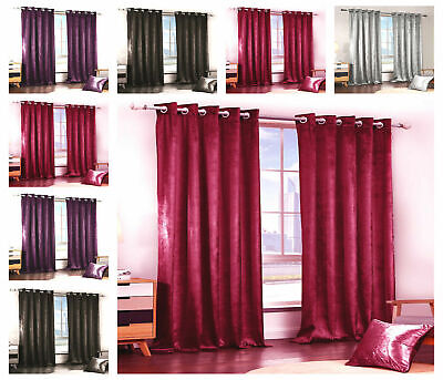 Long Thick Plain Velvet Blackout Eyelet RingTop Ready Made Lined Pair Curtains