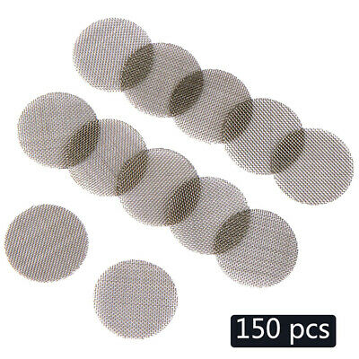 150pcs Pipe Screen Filters 15 mm Sliver with Storage Box Anti-rust Metal Hookah