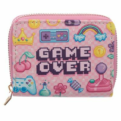 Game Over Pink Girls Gaming Zip Small Wallet Purse
