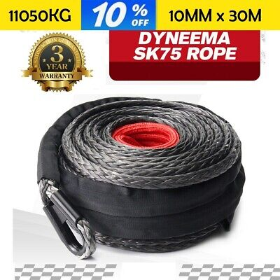 Winch Rope 10mm x 30m Synthetic Dyneema SK75 Tow Recovery Cable 4WD