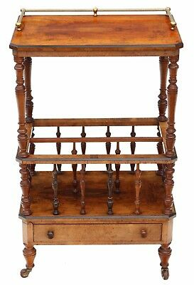 Antique quality Victorian Aesthetic C1880 burr walnut Canterbury whatnot