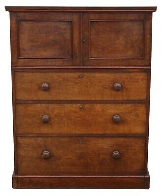 Antique quality Victorian figured walnut cupboard on chest housekeeper's C1860
