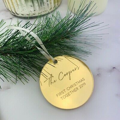 Gold Mirror Christmas Tree Decoration, Gold Name Place, Party Names