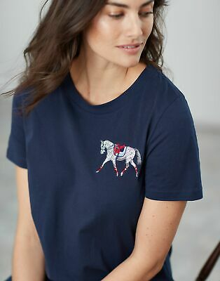 Joules Womens Official Burghley Horse Trials Embroidered T Shirt - FRENCH NAVY