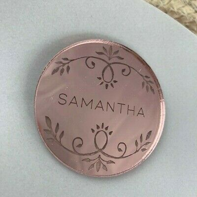 Rose Gold Mirror Christmas Tree Decoration, Rose Gold Place Names, Party Names