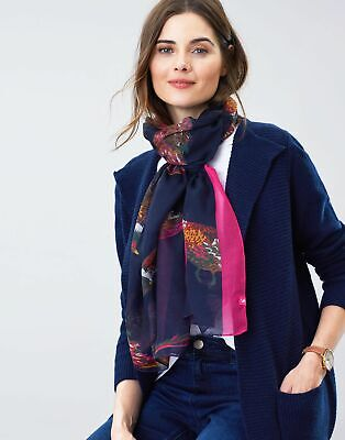 Joules Womens Wensley Printed Scarf in NAVY PHEASANTS in One Size