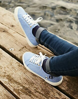 Joules Womens Coast Pump Canvas Lace Up Trainers in CHAMBRAY