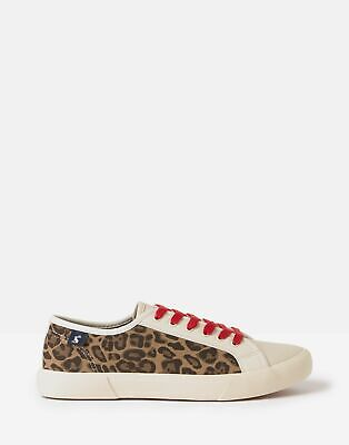 Joules Womens Coast Pump Faux Leather Trainer in LEOPARD