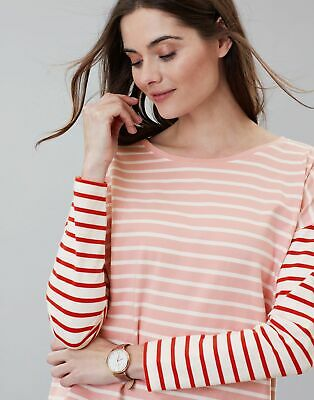 Joules Womens Marina Stripe Dropped Shoulder Jersey Top Shirt in PINK STRIPE