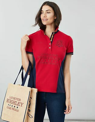 Joules Womens Official Burghley Horse Trials Polo Shirt - RED