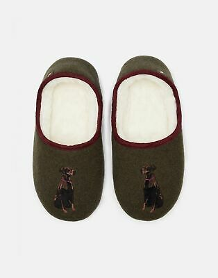 Joules Womens Slippet Felt Character Mule Slippers in BLACK DOG