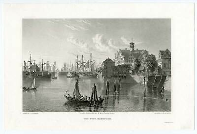 Hamburg - Hafen - Stahlstich Robert Batty 1828