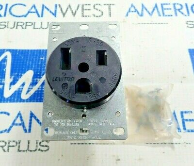 Leviton 5373 Power Outlet 2 Pole 3 Wire 50 Amp 125V New