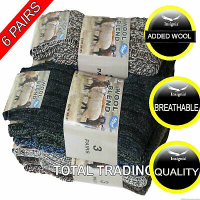 3 Mens Thick Heavy Duty Wool Blend Work Hiking Boot Socks Winter Warm Thermal