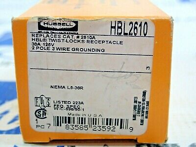 Hubbell Hbl2610 Twist Lock Receptacle 30A 125V 2 Pole 3 Wire New