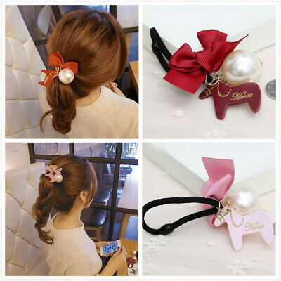 Hot Korean Women cute pony pearl hairpin hair ring hair rope fashion gift