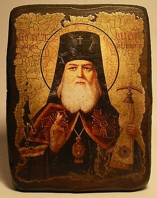 Handmade copy ancient ORTHODOX CHURCH ICON St Luke Archbishop of Crimea 67S