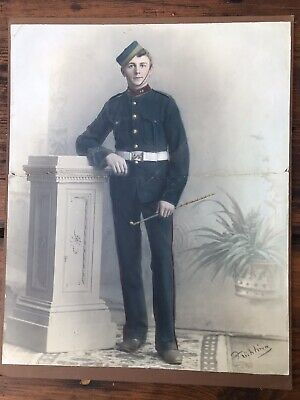 Old Photo South Australian Colonial Militia Cadet in uniform by Fruhling c1895
