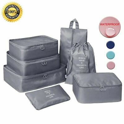 7Pcs Packing Cubes Luggage Storage Organiser Travel Compression Suitcase Bags