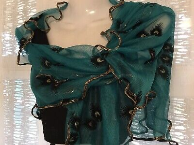 Stunning teal black gold embossed peacock rectangular ruffle Wrap Scarf shawl