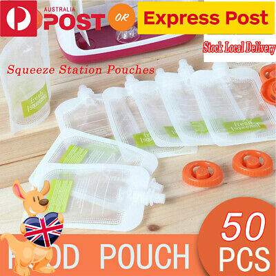 50PCS Baby Feeding Food Squeeze Station Pouches+Fruit Maker Dispenser W/ 10 bags