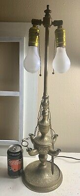 Antique Continental Converted Brass Bronze Oil Lucerne Lamp 25""