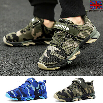 Kids Boys Sports Trainers Sneakers Children Mesh Camo Shockproof Running Shoes