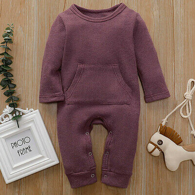 Newborn Baby Boys Girls Long Sleeve Warm Romper Outfits Cotton Pockets Jumpsuit
