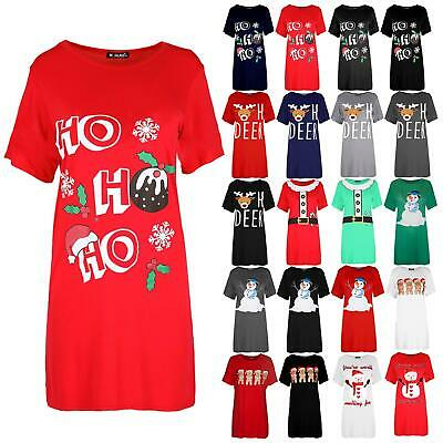 Ladies Womens Oversized Christmas Ho Ho Ho Pudding Baggy T Shirt Mini Dress