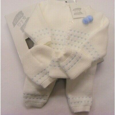 Baby Girls Boys Spanish Romany White Blue Pom Pom Knitted Layette Outfit Newborn