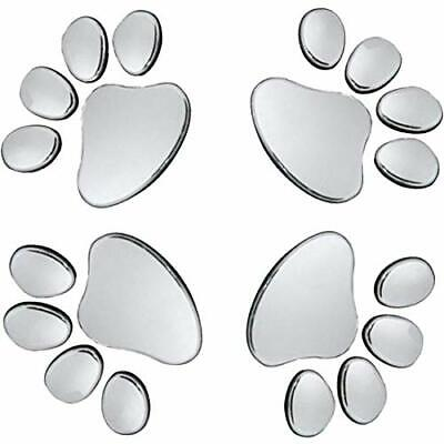 3D Silver Chrome Dog Paw Footprint Car Decal Stickers Funny Sticker asf