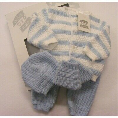 Baby Boys Spanish Romany White & Blue Striped Knitted Layette Outfit Newborn