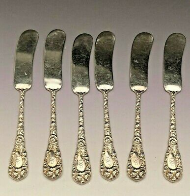 """Chrysanthemum by Durgin Sterling Silver set of 6 Butter Spreaders 5 3/8"""", mono S"""