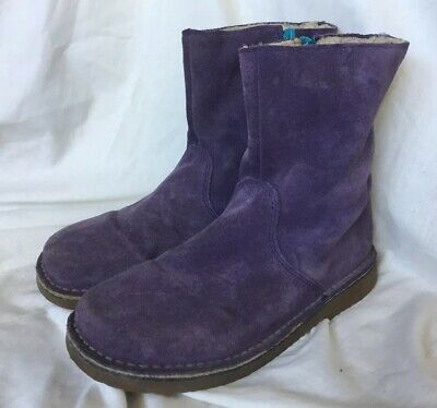 Mini Boden Girls Ladies Purple Suede Ankle Boots Size 2 Uk 35 Eur