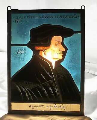 Ancien vitrail plomb portrait Huldrych / Ulrich Zwingli stained glass lead Swiss