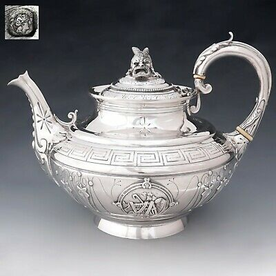 Antique French Sterling Silver Teapot / Coffee Pot, Bacchus Figural Motif