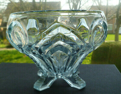 Vintage Sowerby Art Deco Pressed Art Glass Footed Rose Bowl 1930'S Pat 2570
