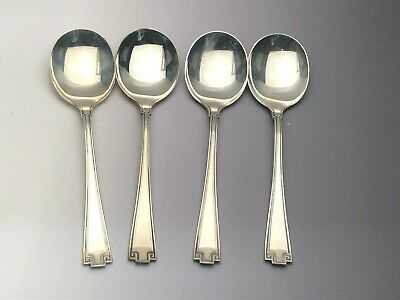 """Etruscan by Gorham Sterling Silver set of 4 Cream / Round Soup Spoons 6 3/8"""""""